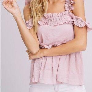 Ruffled mauve cold-shoulder tank top/blouse